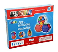 MagWorld Toys Magnetic Construction Rainbow Colors-60 Piece Set. Create 2D and 3D Shapes Figures & Architecture. Beginner to Advanced STEM Play Age 3 and Up. 【You&Me】 [並行輸入品]