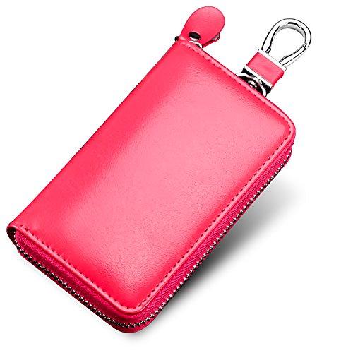 KAOKU キーケース 6連 本革 レザー スマートキーケース ファスナー カラビナ付き カード入れ付き メンズ レディース(ピンク)