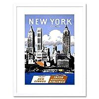 Travel Aer Lingus New York Manhatten Ireland Airline Ad Framed Wall Art Print