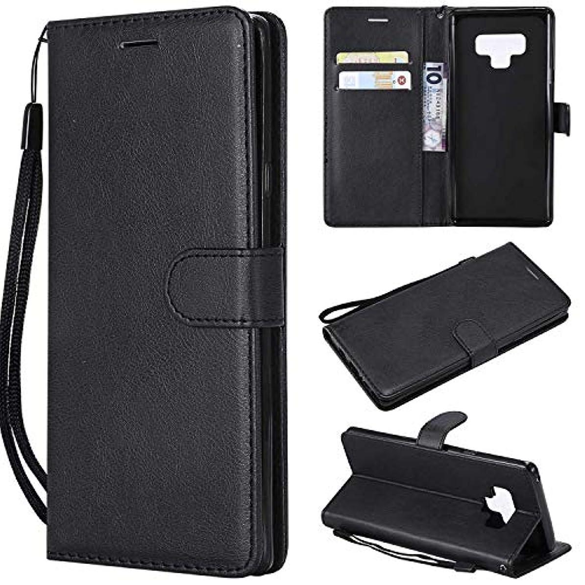 左章おじいちゃんGalaxy Note 9 ケース手帳型 OMATENTI レザー 革 薄型 手帳型カバー カード入れ スタンド機能 サムスン Galaxy Note 9 おしゃれ 手帳ケース (2-ブラック)