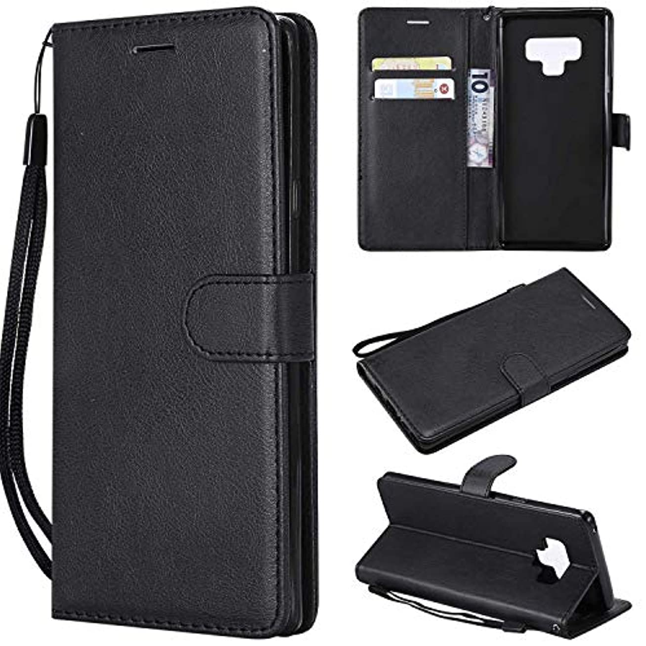 エアコン寂しい乗算Galaxy Note 9 ケース手帳型 OMATENTI レザー 革 薄型 手帳型カバー カード入れ スタンド機能 サムスン Galaxy Note 9 おしゃれ 手帳ケース (2-ブラック)