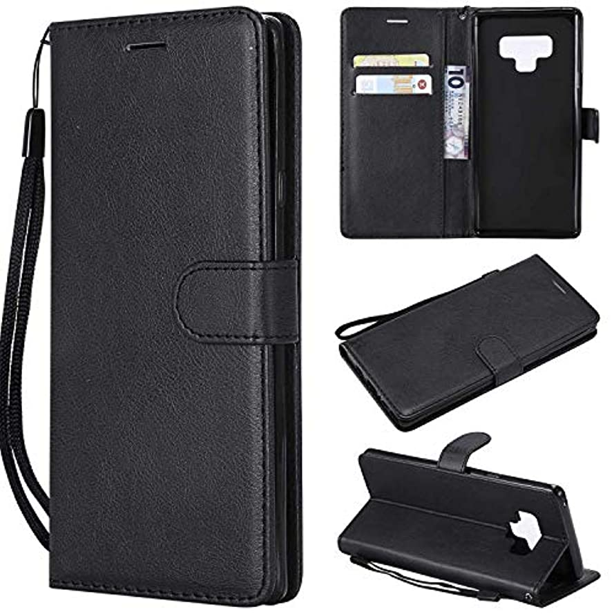 手書きレーニン主義宮殿Galaxy Note 9 ケース手帳型 OMATENTI レザー 革 薄型 手帳型カバー カード入れ スタンド機能 サムスン Galaxy Note 9 おしゃれ 手帳ケース (2-ブラック)