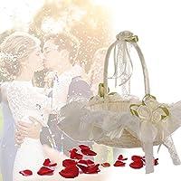 【Cheng-store】結婚式の竹の花のバスケット ラインストーンのレースのバスケット 女の子の花のバスケット 結婚式パーティー用品(ベージュ)