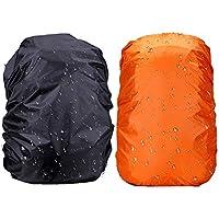 Sunhel アウトドアリュックカバー 雨よけ ブラック+オレンジ 収納袋付き 2個入り