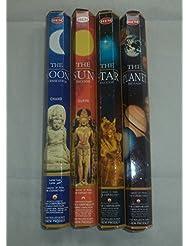 裾太陽、月、星、Planet 80 Incense Sticksさまざまなコンボ4 x 20スティック