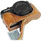 FIRST2SAVVV XJD-G7XII-D09 褐色 Canon PowerShot G7 X Mark II .G7X M2 専用 PU 半分レザー レフ カメラバッグ カメラケース