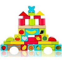 おもちゃビルディングブロック取り外し可能な教育33カプセル色フルーツ面白いソリッドウッド24 * 20 * 14CM