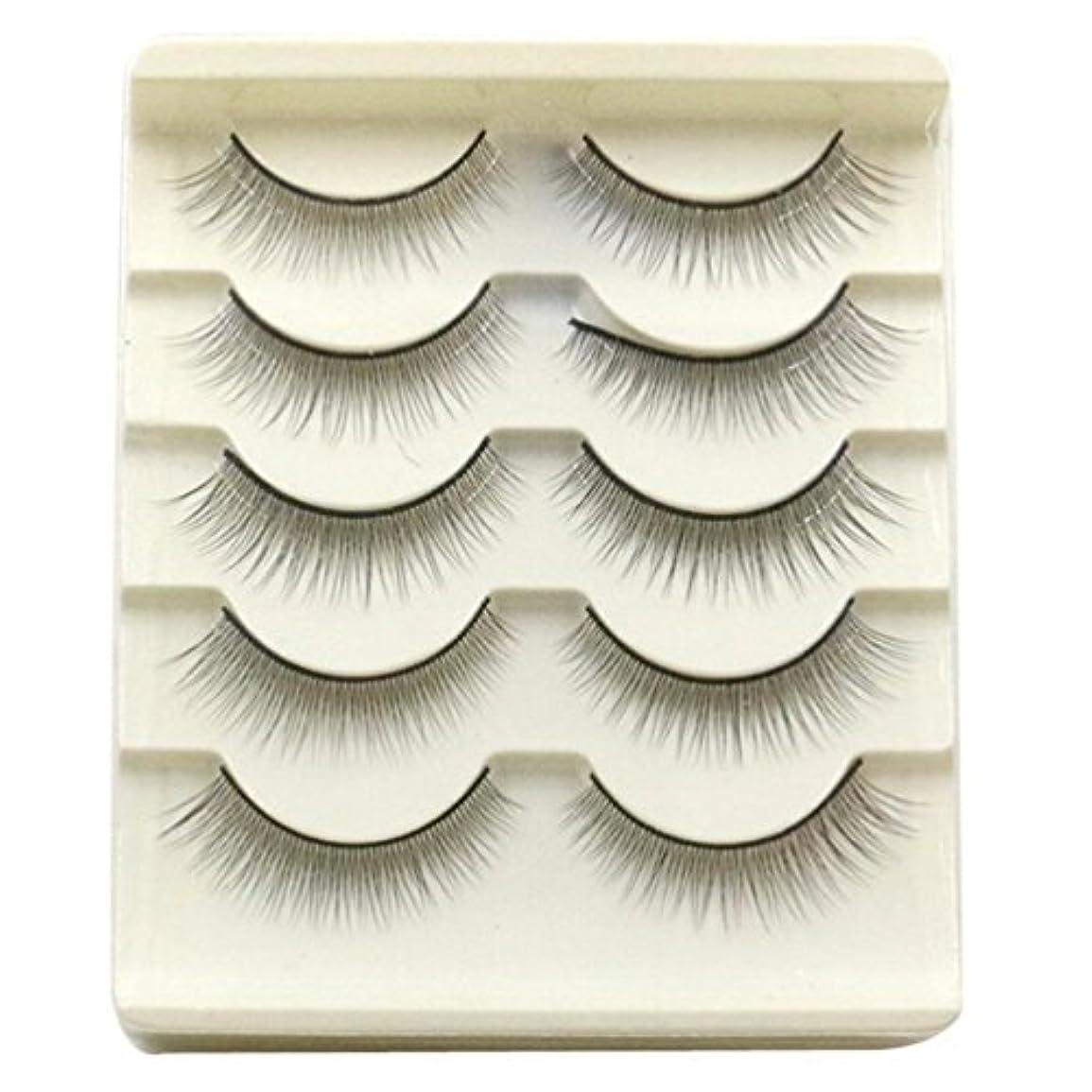 袋うぬぼれアルプスFeteso 5ペア つけまつげ 上まつげ Eyelashes アイラッシュ ビューティー まつげエクステ レディース 化粧ツール アイメイクアップ 人気 ナチュラル ふんわり 装着簡単 綺麗 極薄
