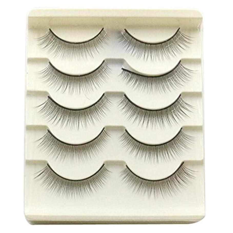 クレタ意識ハウジングFeteso 5ペア つけまつげ 上まつげ Eyelashes アイラッシュ ビューティー まつげエクステ レディース 化粧ツール アイメイクアップ 人気 ナチュラル ふんわり 装着簡単 綺麗 極薄