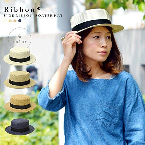 (グッズ)Goods 黒リボンがガーリーなアクセント 涼しげなサイドリボン付きカンカン帽 ナチュラル