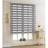 サイズ オーダーメイド , [Winsharp Woodlook 240 , Grey , W 150 x H 180 (CM)] 調光ロールアップ スクリーン 窓 ブラインド & カーテン 簾 ウッドルック