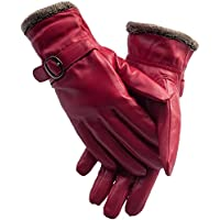 Ayliss Women Winter Leather Gloves Warm Driving Gloves Cashmere Lined Sheepskin Mittens