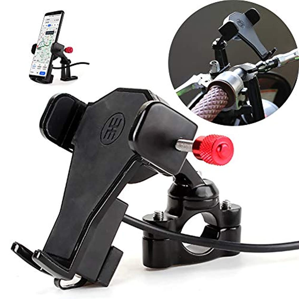 クスクス晴れアベニュー自転車オートバイ携帯電話マウントホルダー - USB充電器付き360度回転、3.5-6.6インチ電話に適しています、あらゆるスマートフォンGPS用 - ユニバーサルマウンテンロードバイクオートバイ