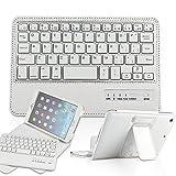 PopSky iPad mini4専用 Bluetoothキーボードカバー/キーボードケース 【 TELEC認証】【全3色】分離可能 iPad mini4保護ケースライチ紋 Bluetooth3.0搭載 ワイヤレスブルートゥースキーボードケース キーボード付き 高級PUレザーケース 自動スリープ機能付き スタンド機能付き Bluetooth keyboard case (ipad mini 4, ホワイト)