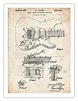"Fender Stratocasterギターポスター1956特許アート印刷 5"" x 7"" SPS-005"