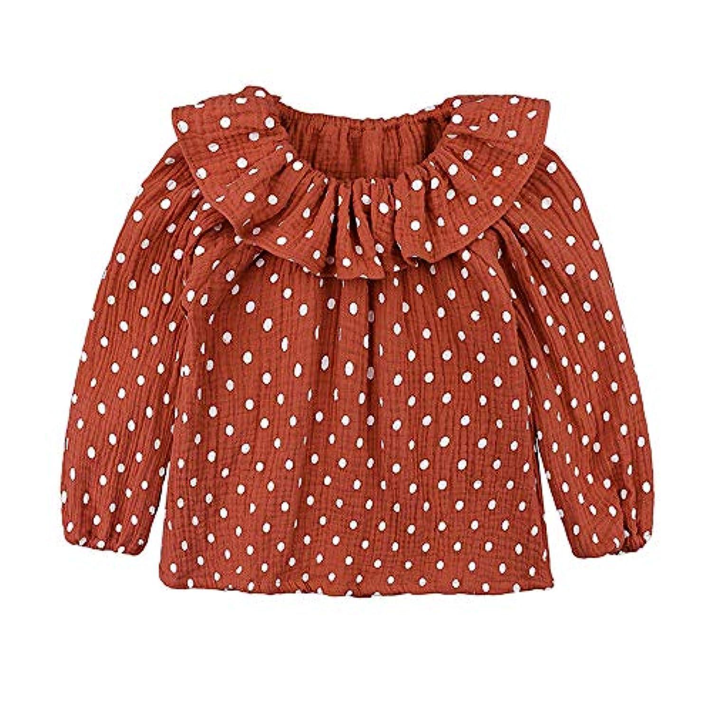 子供服 Jopinica 赤ちゃん ポルカドット 綿とリネン 人形の襟 幼児 トップ 新しい 文学的スタイル 日系 原宿風 ラウンドネック ロングスリーブ シャツ 薄い 女の子 かわいい 薄くて軽い 快適な 無地 カジュアル