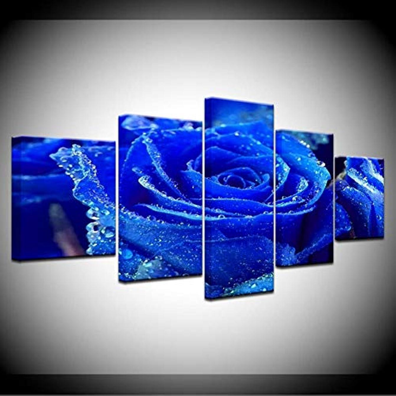 声を出してサンダース瞑想するJason Ming 5パネル高貴なダークブルーローズフレームワーク壁アートワーク絵画Hdプリントキャンバスポスター家の装飾リビングルームモジュラー写真