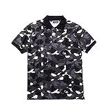 BAPE A BATHING APE (エーエイプ バイ ア ベイシング エイプ)夏 メンズ 刺繍 ロゴ バッジ 迷彩服 立ち襟 半袖 コットン Tシャツ 男女兼用