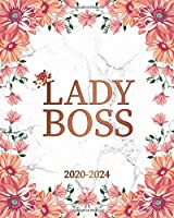 Lady Boss 2020-2024: Rose Floral 5 Year Monthly Planner & Schedule Organizer with 60 Months Spread View - Trendy Stone Marble Five Year Calender, Agenda, Notebook & Diary.