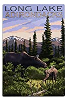 The Adirondacks–ロング湖、ニューヨーク–Moose and Baby Calf 12 x 18 Metal Sign LANT-54772-12x18M
