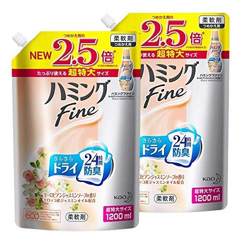 【まとめ買い】ハミングFine 柔軟剤 ヨーロピアンジャスミンソープの香り 詰め替え 大容量 1200ml×2個
