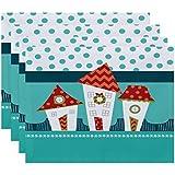 E byデザインCoastalクリスマスCoastal Houses幾何印刷プレースマット – 4のセット 1 オレンジ PT4HGN663BL4OR15