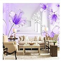 壁画壁紙紫色のユリの花立体抽象芸術壁画リビングルームソファーテレビ背景写真壁紙@ 250cm_(W)* 160cm(H)カスタム