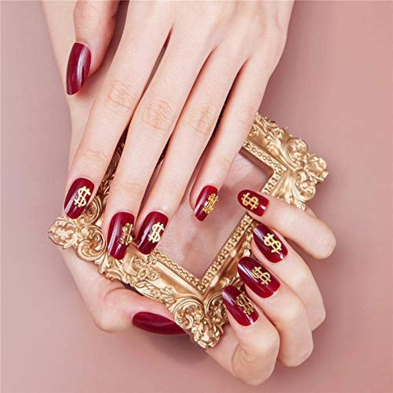 ペリスコープキャリッジスナッチinsで流行る付け爪 お花嫁用付け爪 ネイルチップ ドル記号の装飾 (あかい)