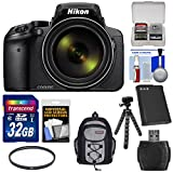 Nikon Coolpix p900Wi - Fi 83xズームデジタルカメラwith 32GBカード+バッテリー+フィルタ+バックパック+三脚キット(認定Refurbishe..