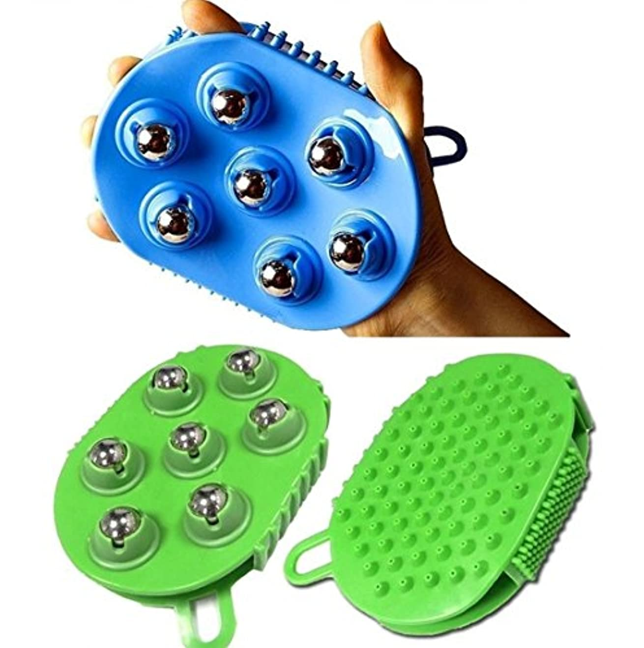 ダブル裂け目永久ステンレススチールボールマッサージブラシグローブ7ローリング 360度回転 / Stainless steel Ball Massage Brush Glove 7 Rolling 360 degree rotation...
