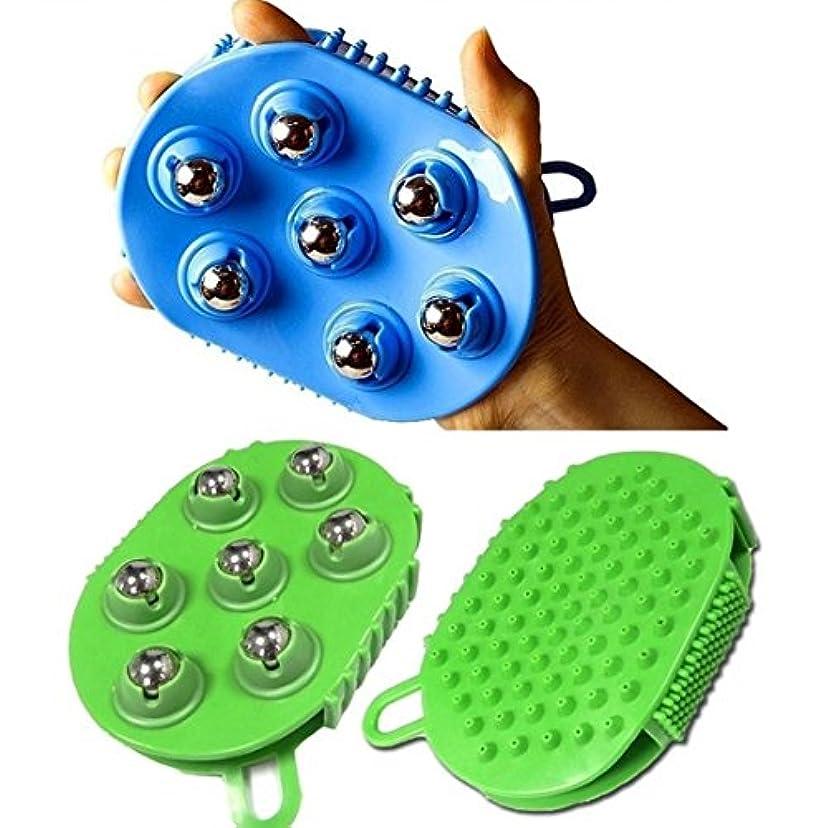 木製近々傾斜ステンレススチールボールマッサージブラシグローブ7ローリング 360度回転 / Stainless steel Ball Massage Brush Glove 7 Rolling 360 degree rotation...