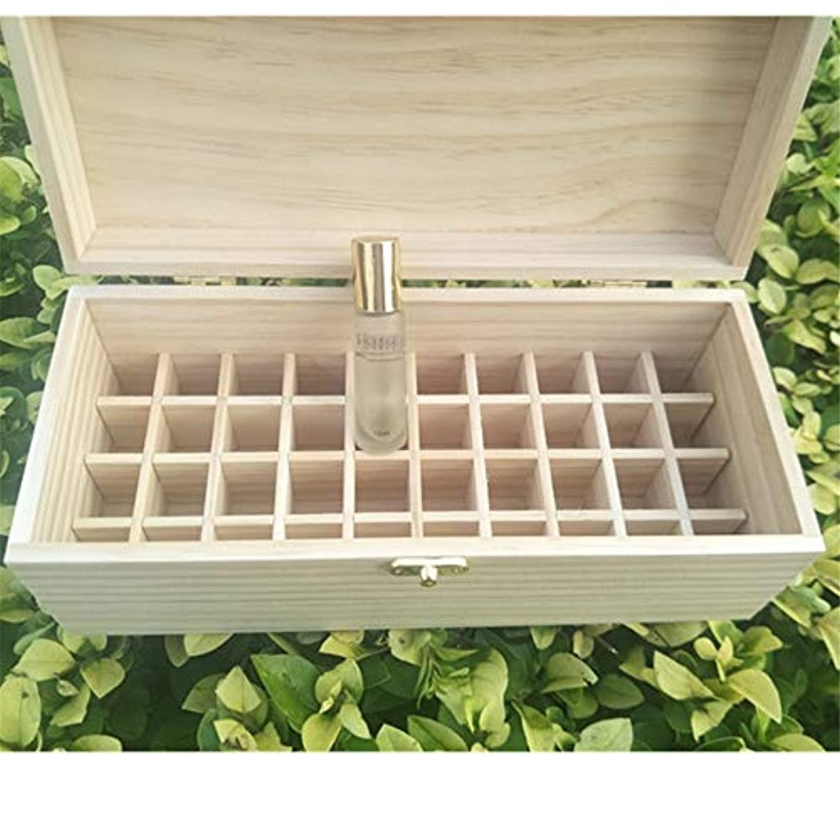 あそこ血まみれのフラフープ40スロット木製エッセンシャルオイルの収納ボックスは40の10mlの油のボトルを保持します アロマセラピー製品 (色 : Natural, サイズ : 27X11.5X10.3CM)