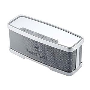 SoundPEATS【メーカー直販 / 1年保証付】Bluetooth スピーカー 重低音 コンパクト EQスイッチ付 ハンズフリー通話可能 P1 (シルバー/グレー)