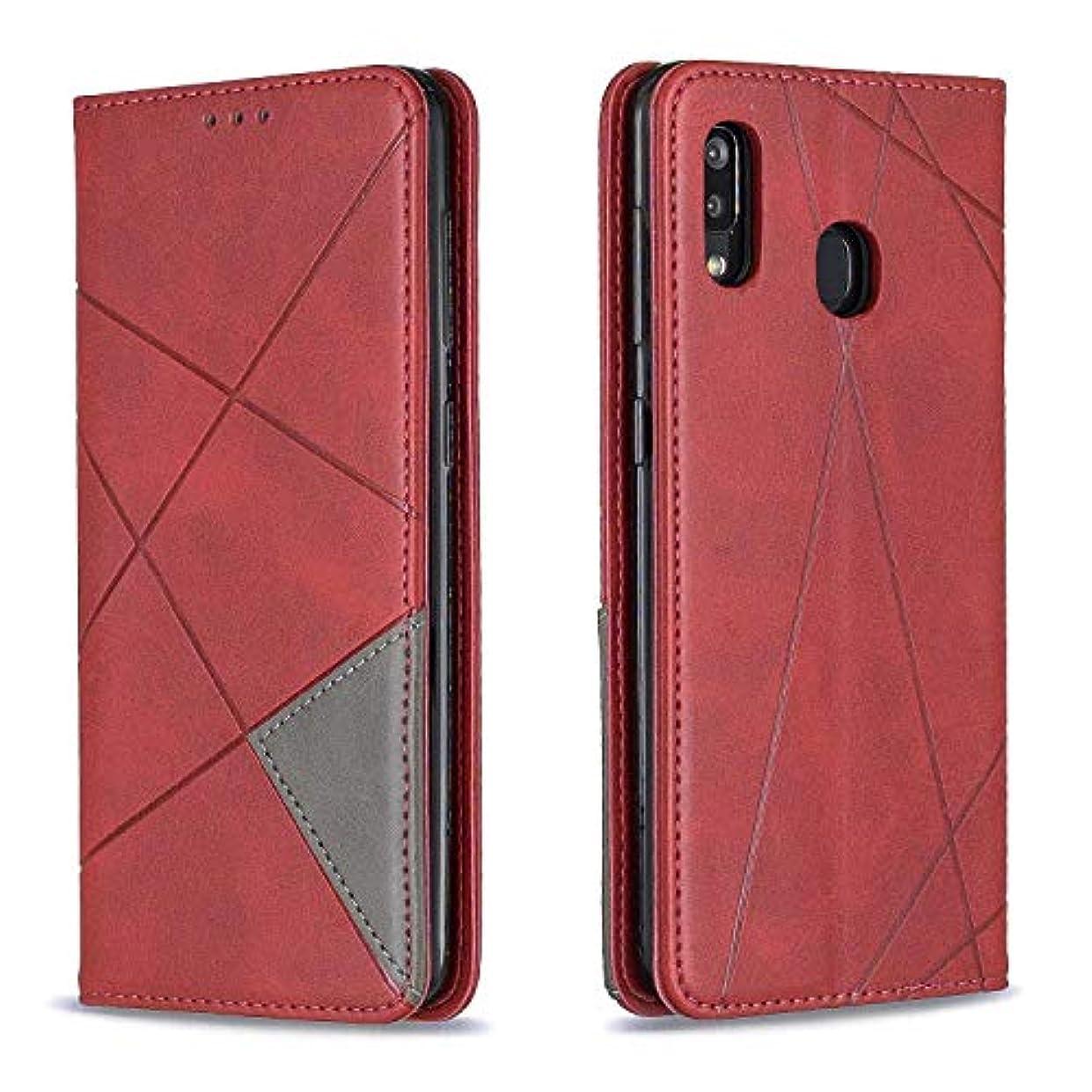 お母さん合理的小数CUSKING Galaxy A30 / A20 ケース, 高級 Samsung Galaxy A30 / A20 手帳型 スマホケース, PUレザー フリップ ノート型 カード収納 付き保護ケース, レッド