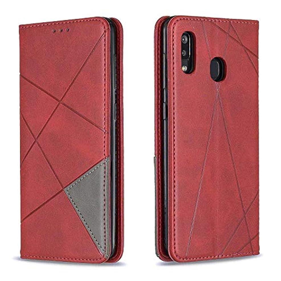 意味する栄光のサスペンドCUSKING Galaxy A30 / A20 ケース, 高級 Samsung Galaxy A30 / A20 手帳型 スマホケース, PUレザー フリップ ノート型 カード収納 付き保護ケース, レッド