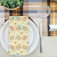 artzfolio Bicycles &ピンクハートテーブルナプキンサテン生地 16inch x 16inch; SINGLE PIECE AZKIT24026015NAP_TB_L_01-S1_SN
