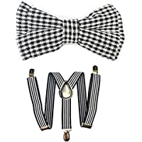 Kids Suspenders And Bow Tie Set Adjustable Suspender Bowtie Necktie Sets Boys And Girls (Black White Striped + Plaid Bowtie)