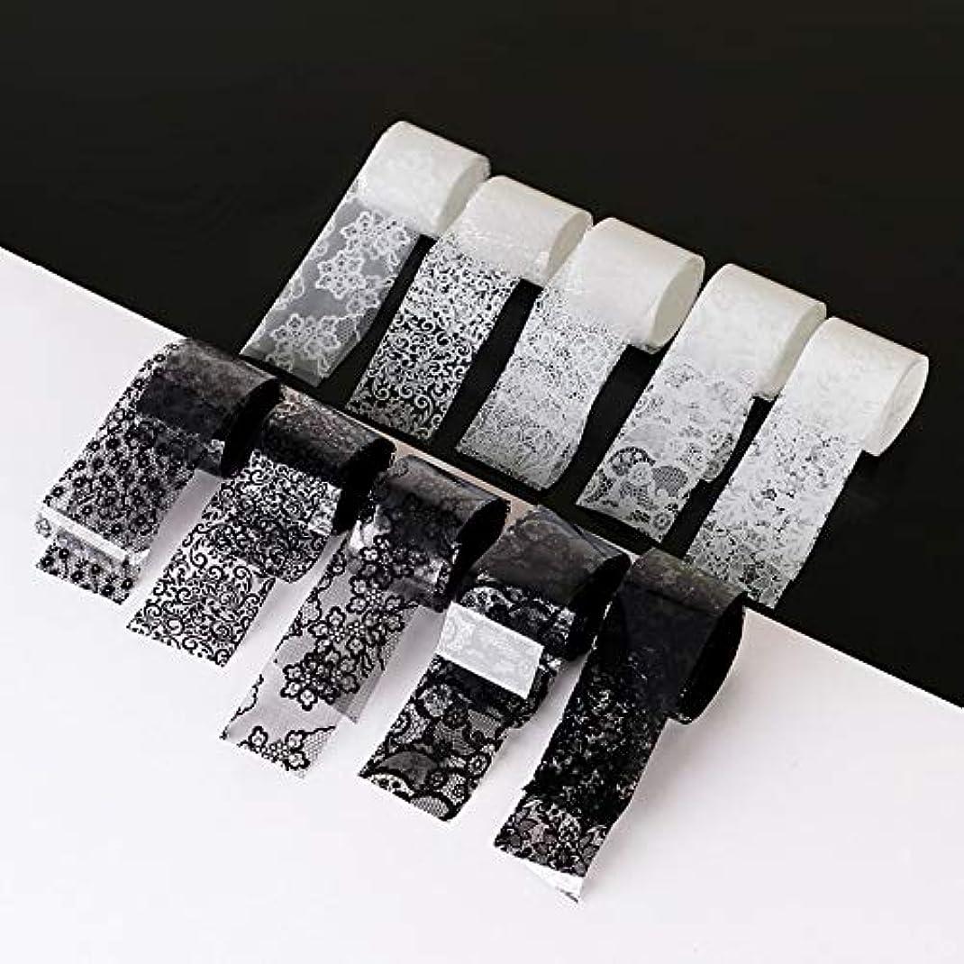ステートメントまともな分類10ロール/箱新しい黒白いレースネイルアート転写箔ステッカーセクシーな花の接着剤ネイルシールdiyマニキュアツール2.5 * 100センチ