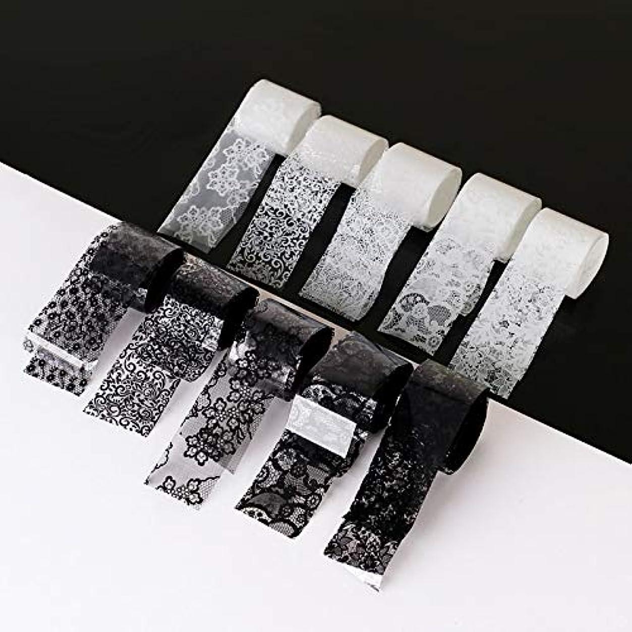 体操プレゼンター魅惑する10ロール/箱新しい黒白いレースネイルアート転写箔ステッカーセクシーな花の接着剤ネイルシールdiyマニキュアツール2.5 * 100センチ