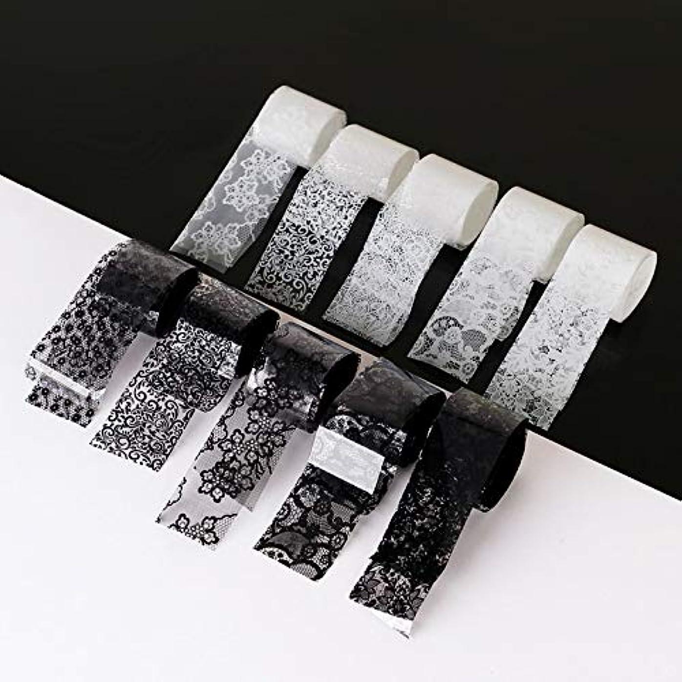 死んでいる石の規制する10ロール/箱新しい黒白いレースネイルアート転写箔ステッカーセクシーな花の接着剤ネイルシールdiyマニキュアツール2.5 * 100センチ