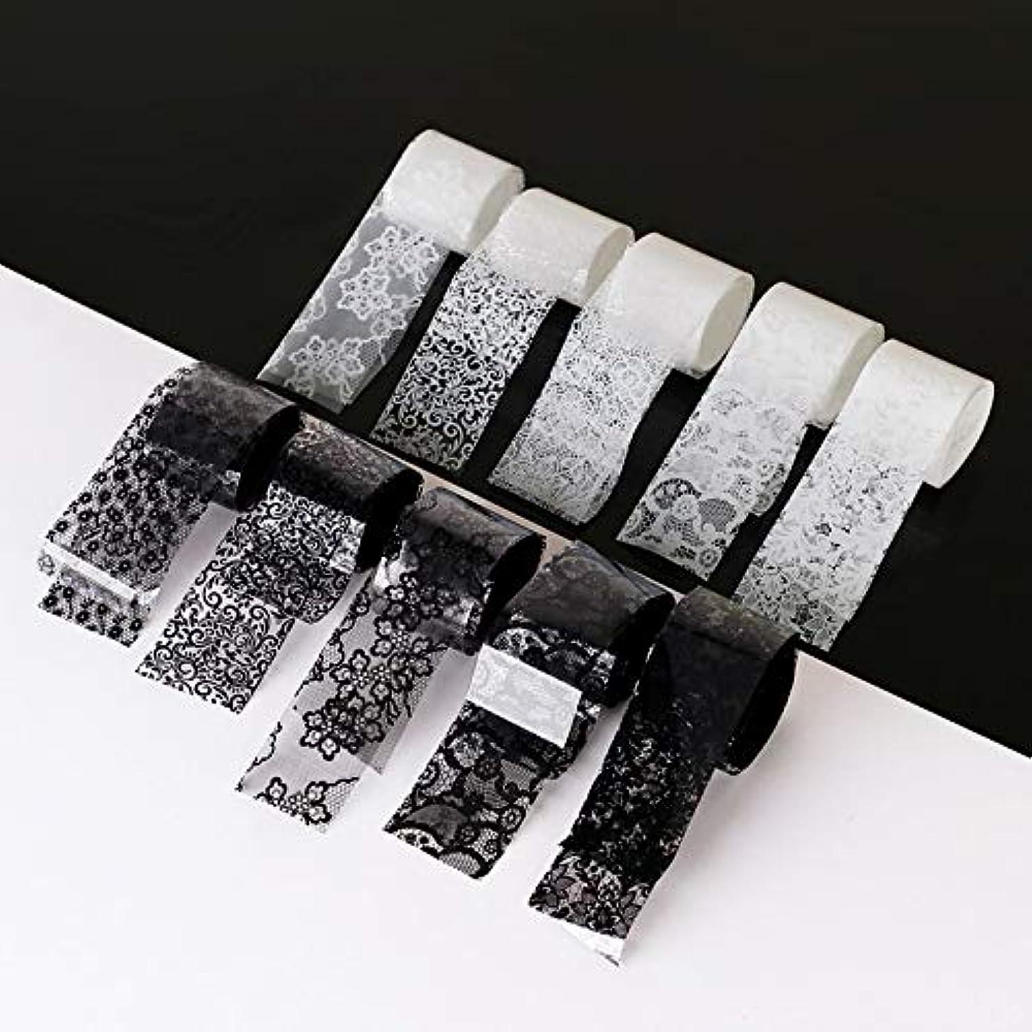 クローゼット信じる加害者10ロール/箱新しい黒白いレースネイルアート転写箔ステッカーセクシーな花の接着剤ネイルシールdiyマニキュアツール2.5 * 100センチ