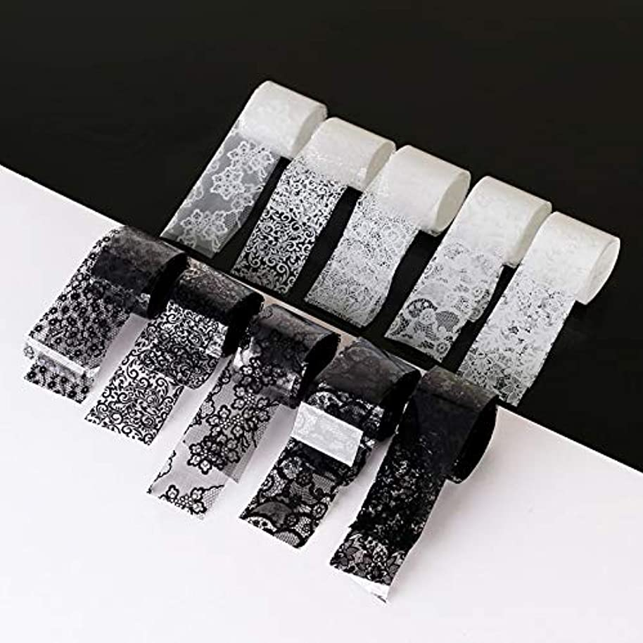 新しい意味友だち貫通する10ロール/箱新しい黒白いレースネイルアート転写箔ステッカーセクシーな花の接着剤ネイルシールdiyマニキュアツール2.5 * 100センチ