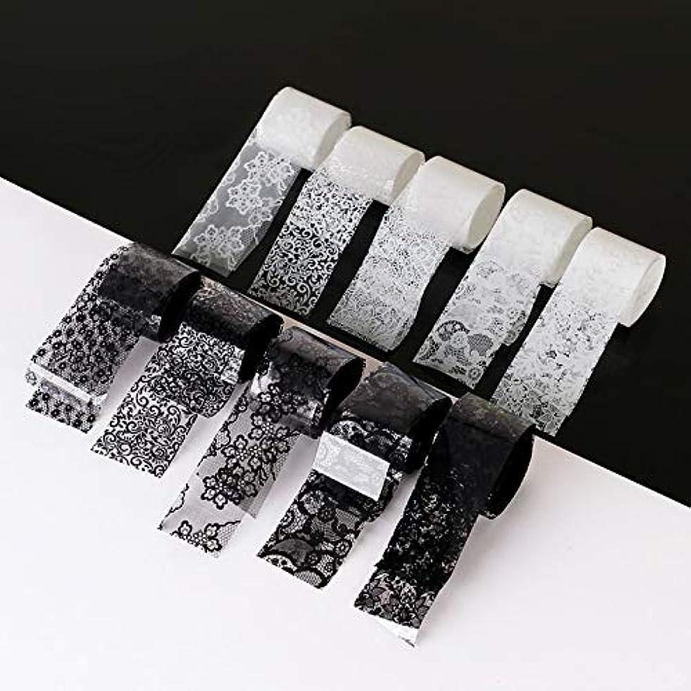戦士神経障害養う10ロール/箱新しい黒白いレースネイルアート転写箔ステッカーセクシーな花の接着剤ネイルシールdiyマニキュアツール2.5 * 100センチ