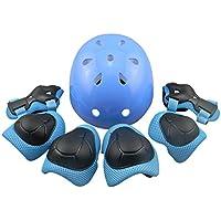 PETFORU ジュニア/子供用プロテクター ヘルメット 7点セット ヒジ ヒザ 手首 プロテクター サイクリング 自転車 頭に優しい サイズ調整可能 16歳以下の子供に対応 - ブルーS