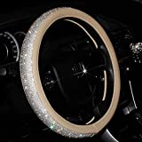 ZYSY Car Leather Steering Wheel Cover With Crystal Bling Bling Rhinestones Universal Fit 15 Inch for Girls Lady Women (Beige)
