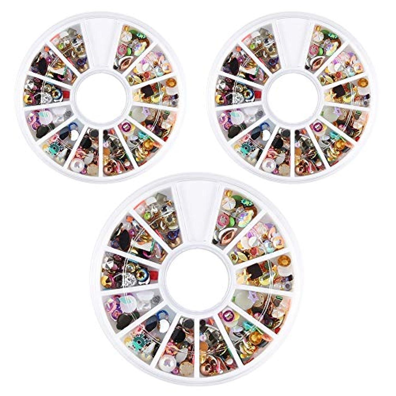 世界記録のギネスブックジョガーハンドブックネイルデコパーツ ネイルパーツ 3D ネイルアートデコレーション DIY ネイルデザイン ミックスパーツ カラフルな宝石 3ボック/スセット ネイル デコ用