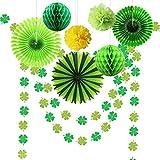 CASA DECRO キラキラしたシャムロッククローバーガーランド 吊り下げバナー/ペーパーファン/ポンポン ラッキーアイリッシュ ベビーシャワー 誕生日パーティー センターピース用品 グリーン party-1-2