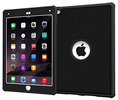 roocase iPad Air 2 Case - VersaTough Orb System Armor Case Hybrid PC / TPU Tough Case Cover with Built-in Screen Protector for iPad Air 2 (2014) 6th Generation Latest Model, Granite Black rooCASE