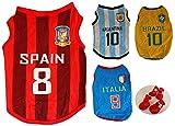 Adamz.sp 犬 服 【くつセット】 サッカー おもしろ コスプレ オリジナルセット (XS, スペイン 赤)