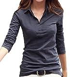 (ルナー・ベリー) Lunar Berry Vネック 襟付き カットソー 半袖 長袖 スリム Tシャツ レディース 1211 (XXL, グレー_長袖) 一枚で着れる服 コスパ最高 通勤着 長めのシャツ 襟あり シャツ 衿あり (XXL, グレー_長袖)